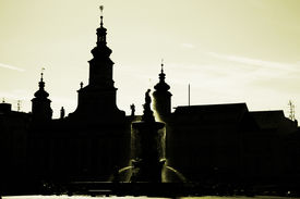 picture of samson  - Samson fountain in the square in the Czech Budejovice - JPG