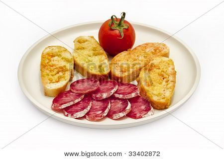 Tomato Rubbed On A Slice Of Bread