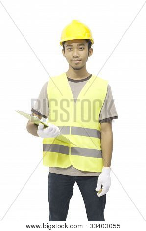 Male Worker Hold Clipboard