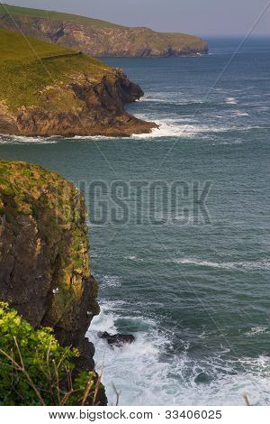 View from Port Isaac in Cornwall along the headland