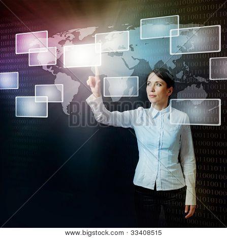Woman Pushing Virtual Button In Web Interface