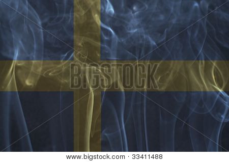 Sweden flag overlay on smoke technique (set 2).