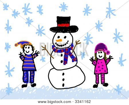 Happy Children With Snowman