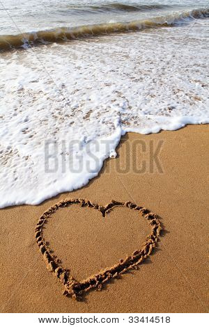 Heart scratched into a empty beach