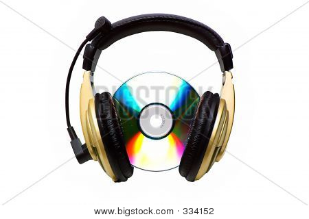 Cd And A Golden Headphone.