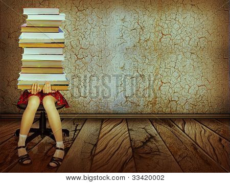 Girl With Books Sitting On Wood Floor In Old Dark Room.grunge Background