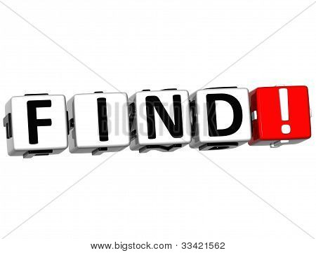 3D Find Button Click Here Block Text