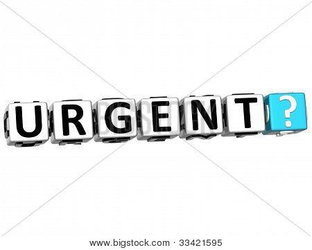 3D Urgent Button Click Here Block Text