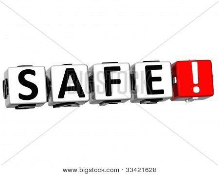 3D Safe Button Click Here Block Text