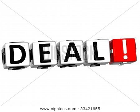 3D Deal Button Click Here Block Text