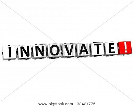3D Innovate Button Click Here Block Text