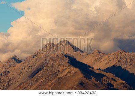 Storm over alpinre tundra mountain ridges