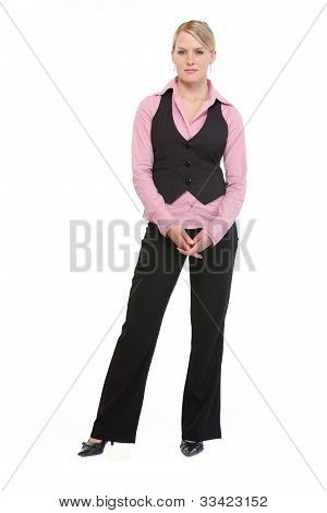 Full Length Portrait Of Employee Woman