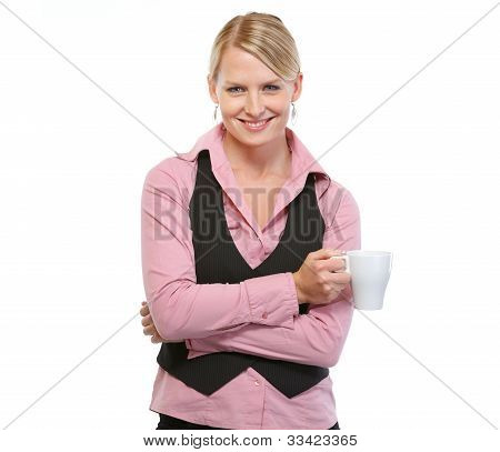 Smiling Woman With Coffee Cup
