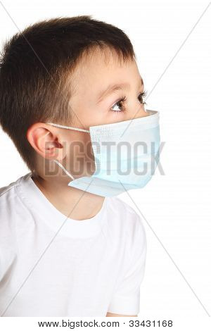 Boy in medicine mask