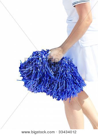 Young Cheerleading Girl Violet Colored Pom-pon