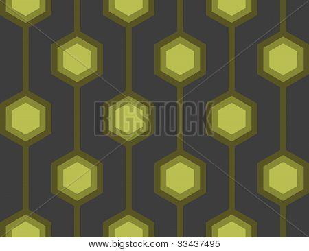 Retro Hexagons Green Seamless Tile