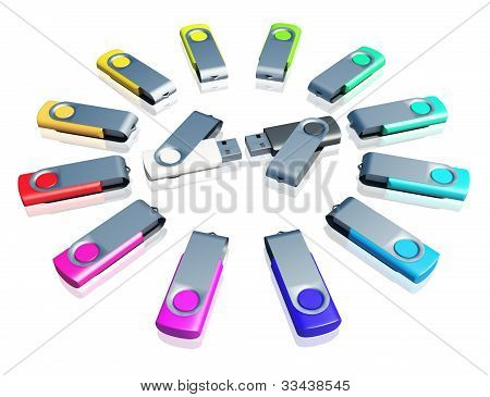 usb drive on isolation background