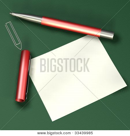 Note Paper With A Red Pen
