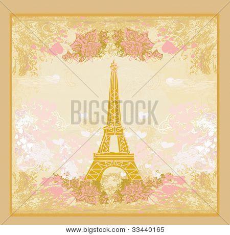 vintage retro Eiffel in Paris card , vector illustration