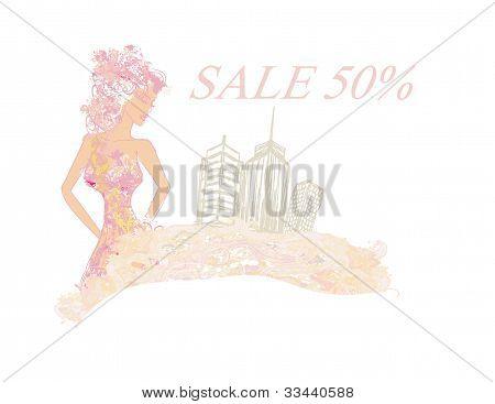 fashion girl Shopping - Summer shopping sale
