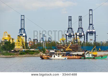 Cranes At An Industrial Port