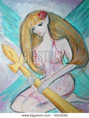 Goddess Holding Golden Ankh