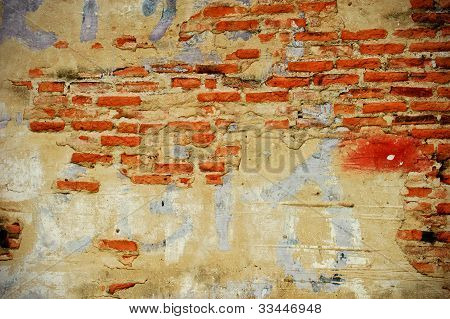 broken brick and concrete wall for background