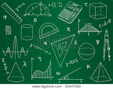 Mathematics - School Supplies, Geometric Shapes And Expressions