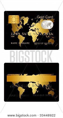 Gold Credit Card Isolated Over White