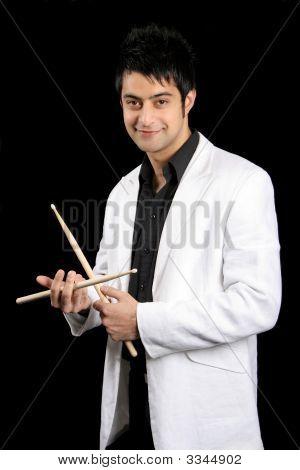 Young Drummer Man Portrait