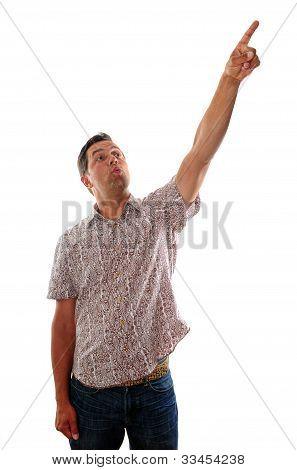 Pointing At Something In Awe