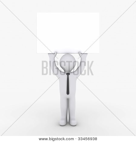 Businessman Holding Blank Sign High