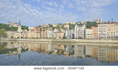 City of Lyon reflected in river