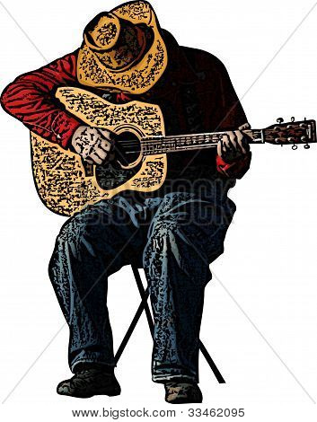 Cowboy Playing Guitar Illustration
