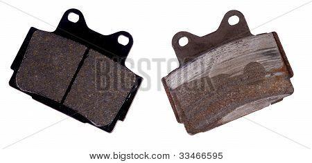 New and worn brake pad