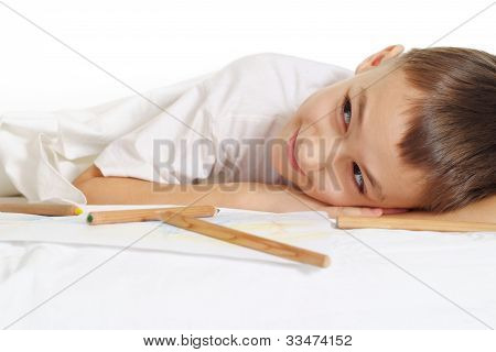 Boy On White Floor