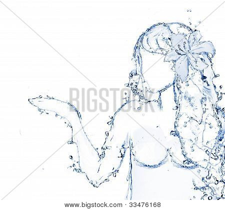 water shaped girl created from water splash isolated in white