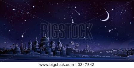 Ancient City Under Crescent Moon