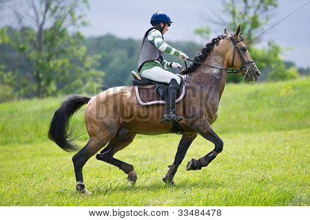Cross-country. Unidentified rider on horse