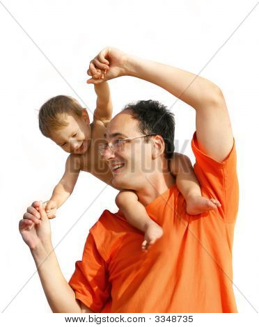 Father Playing With Son Isolated Over White