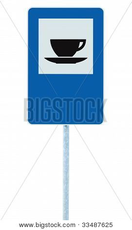 Restaurant Road Sign On Post Pole, Traffic Roadsign, Blue Isolated Bistro Dinner Bar Cafe Cafeteria
