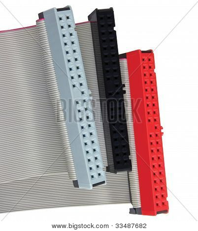 Ide Connectors And Ribbon Cables For Hard Drive On Pc Computer, Isolated, Red, Grey, Black, Macr
