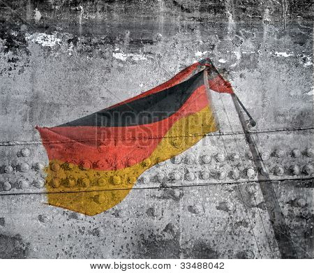 rusted hulk with german flag