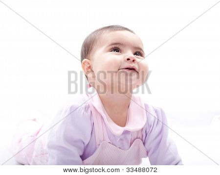 Close Up Of Smiling Baby Crawling