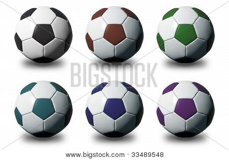 Colorful 3D Soccer Balls Isolated On White Background