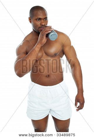 Muscular Male Drinking Health Drink