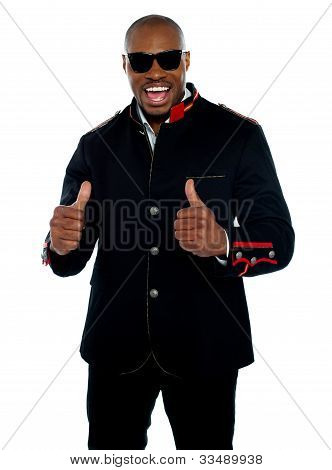 Handsome Excited African With Double Thumbs-up