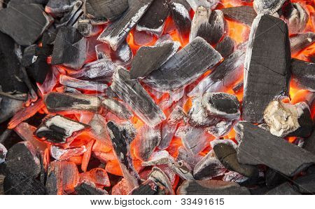 red-hot Charcoal Background