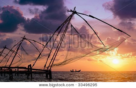 Sunset Over Chinese Fishing Nets In Cochin